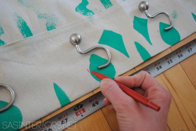 DIY: Stenciled Shower Curtain Using Drop Cloth Material - super simple & inexpensive to create! @Jenna_Burger, WWW.JENNABURGER.COM