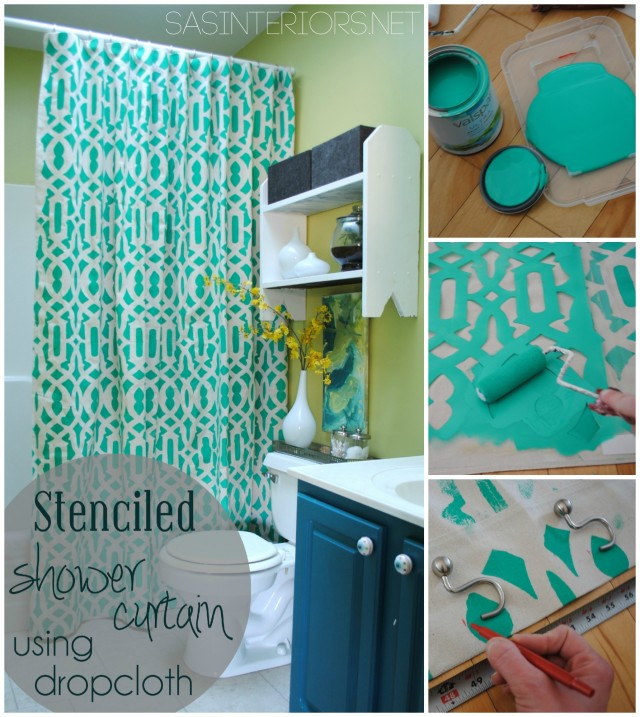DIY: Stenciled Shower Curtain Using Drop Cloth Material - super simple & inexpensive to create! @Jenna_Burger, SASinteriors.net