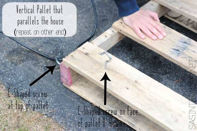 #DIY: Vertical Pallet Gardening Table - No more gardening on the ground with a hurt back. Create a garden table for less than $10. Created by @Jenna_Burger of WWW.JENNABURGER.COM