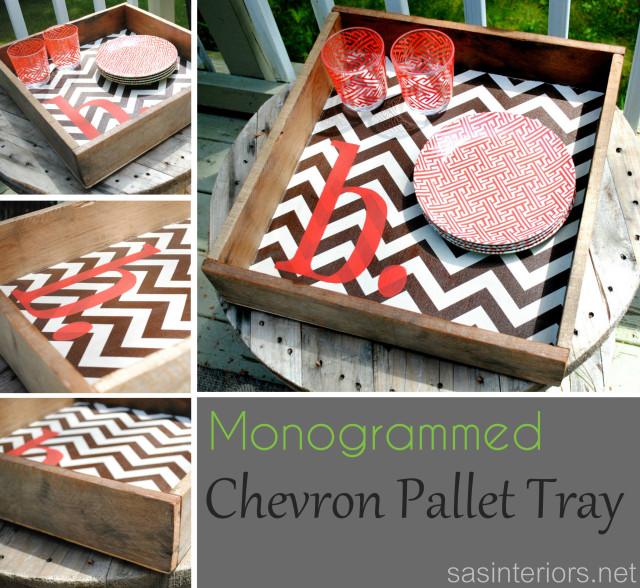 DIY_Monogrammed Chevron Pallet Tray