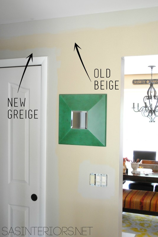 Old Beige, New Greige - Paint Color: Benjamin Moore Gallery Buff on the walls of the foyer