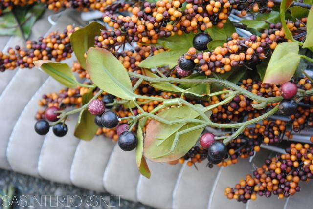 Autumn Wreath with Plum + Peacock Accents by @Jenna_Burger, WWW.JENNABURGER.COM