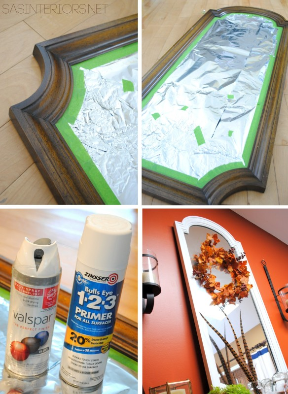 MIrror before and after - $5 fix with white spray paint by @Jenna_Burger, WWW.JENNABURGER.COM