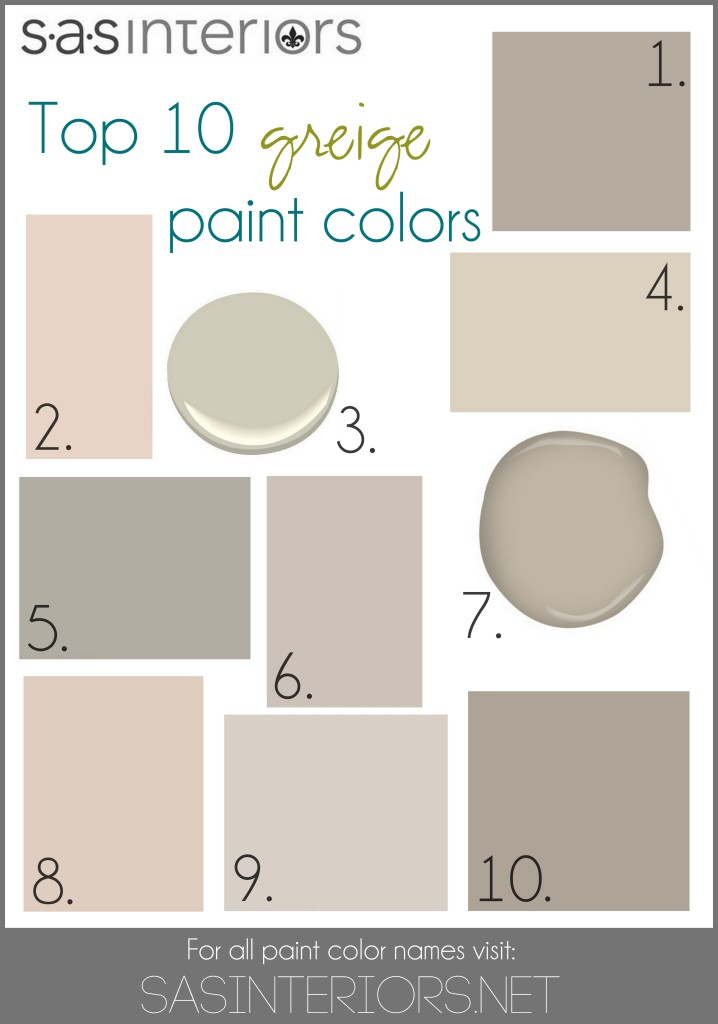 Top 10 Greige Paint Colors for Walls by @Jenna_Burger