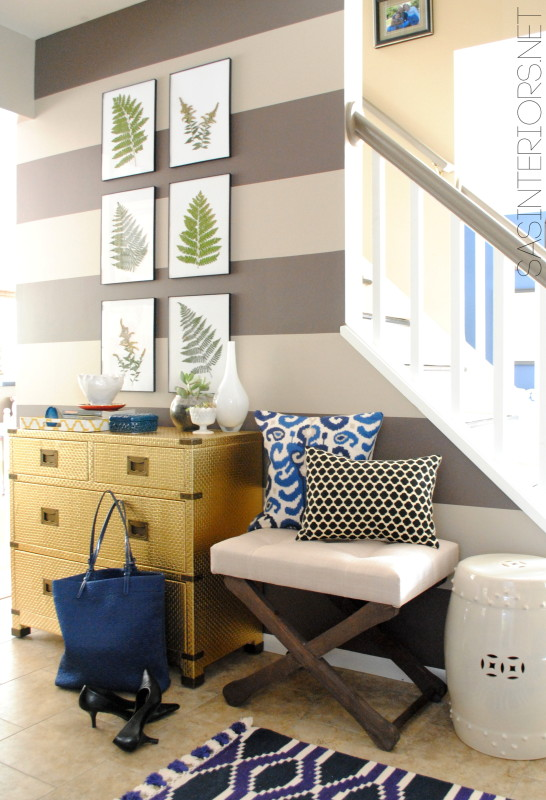Foyer Remodel with newly striped walls, fern art, and layers of colors + texture.  Spaced designed by @Jenna_Burger, WWW.JENNABURGER.COM