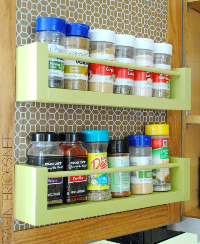 DIY: Wood Spice Rach Holder for inside the kitchen cabinets; Less than $8 to make, in 15 minutes by @Jenna_Burger, WWW.JENNABURGER.COM