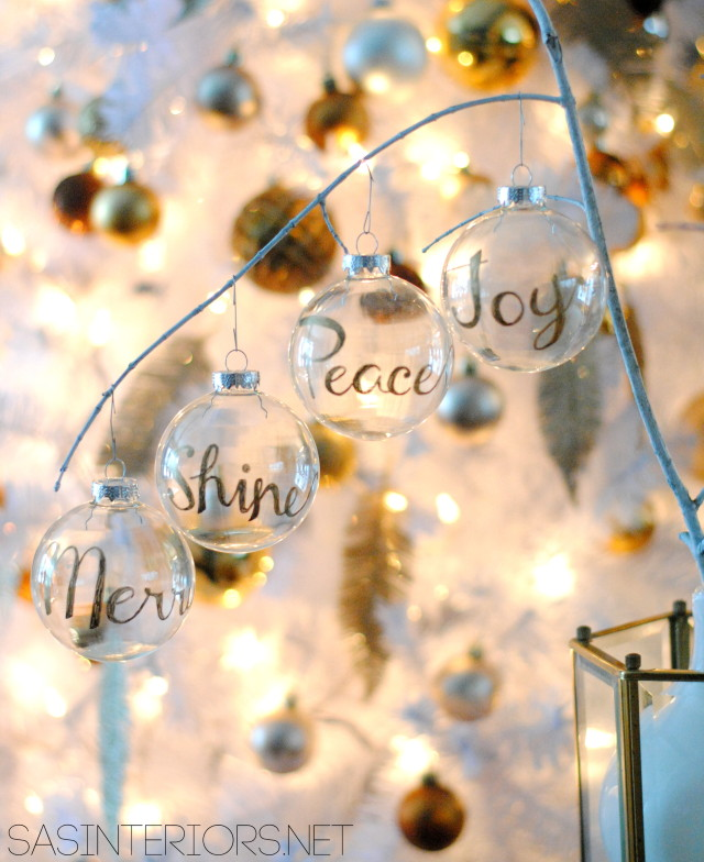 DIY: Word Christmas Ornament using a Gold Sharpie by @Jenna_Burger, WWW.JENNABURGER.COM