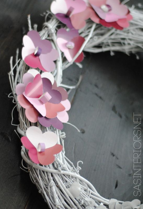 Valentine Wreath with Paint Chip Flowers created by @Jenna_Burger, WWW.JENNABURGER.COM