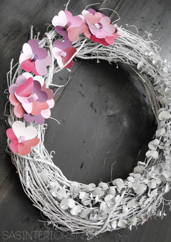 Valentine Wreath with Paint Chip Flowers created by @Jenna_Burger,WWW.JENNABURGER.COM