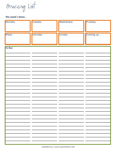 Grocery List / Weekly Menu Printable created by @Jenna_Burger, WWW.JENNABURGER.COM