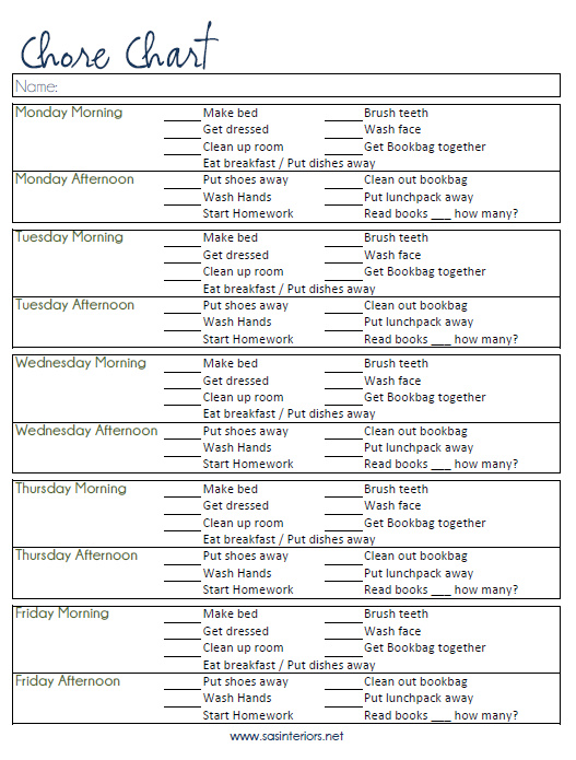 Chore Chart Printable created by @Jenna_Burger, WWW.JENNABURGER.COM
