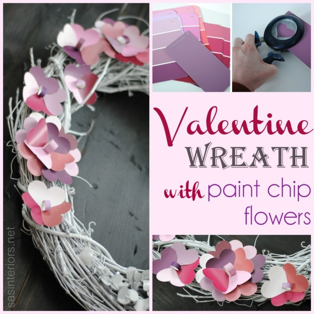 Valentine Wreath with Paint Chip Flowers created by @Jenna_Burger, WWW.JENNABURGER.COM