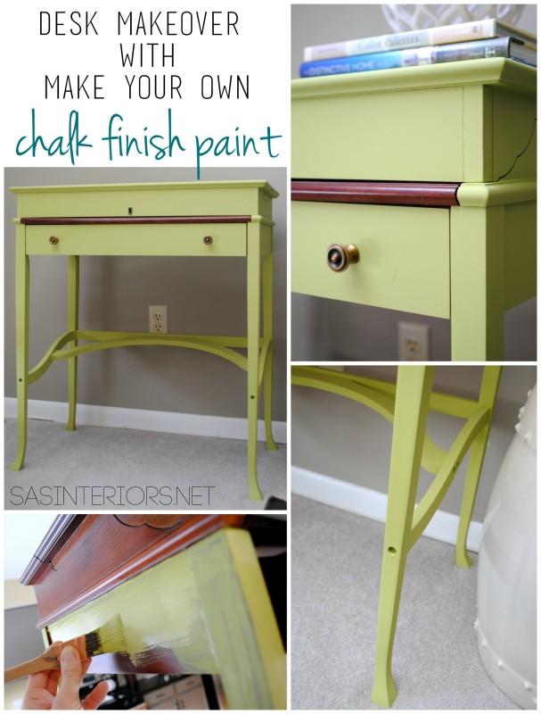 Before and After Desk Makeover using Make Your Own Chalk Finish Paint. Transformation by @Jenna_Burger, WWW.JENNABURGER.COM