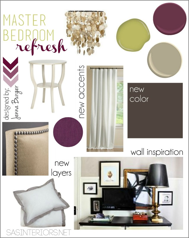 Creative Vision Board for Master Bedroom Refresh. Love the ideas seen here? See the actual space by clicking through...