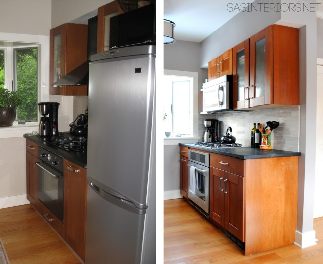 Before & After of a Kitchen Remodel: Integrating / Reusing existing Ikea cabinets with new custom cabinets to match. Transformation is INCREDIBLE!
