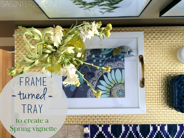 DIY: Frame Turned Tray; perfect for tabletop Spring vignette. So easy + affordable!