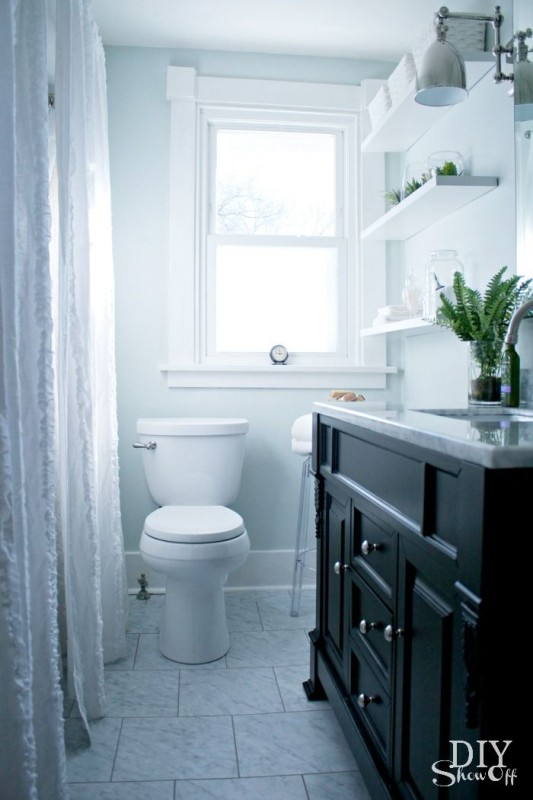 New Groutable Luxury Vinyl Tile transforms this blah bathroom into an incredible space