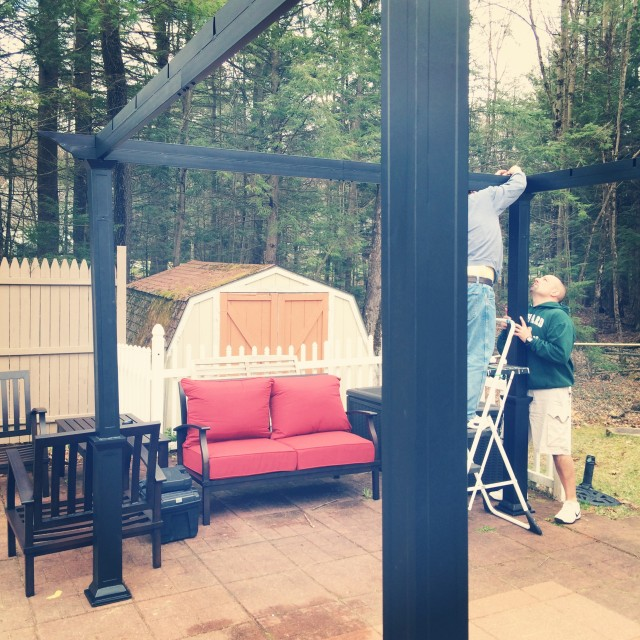 Prepping the patio with a new pergola