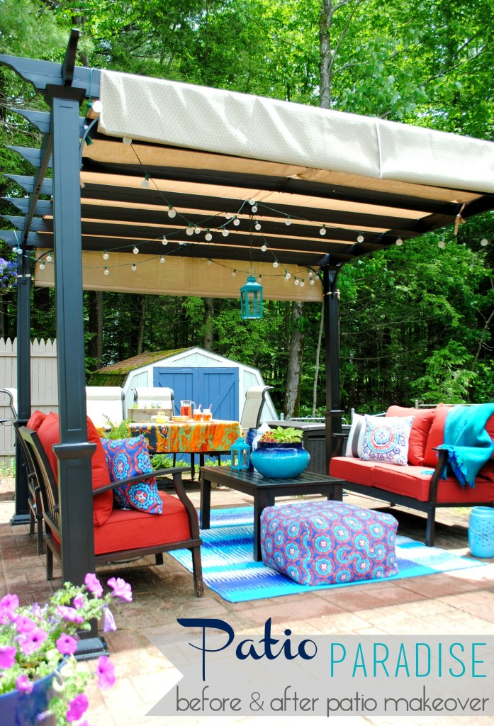 A revamped patio with new outdoor furniture + a Pergola. This new space is surrounded by flowers & the sounds of water from a small pond. A tranquil & ideal oasis for the Summer!