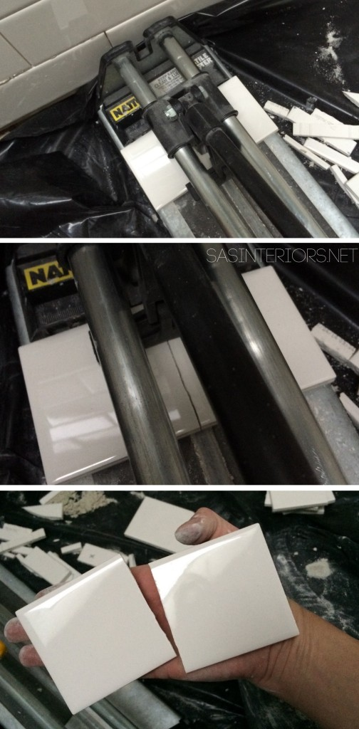 Using a hand-held tile cutter to cu subway tile. It's affordable and easy to use with no mess, no water, and simple clean up!