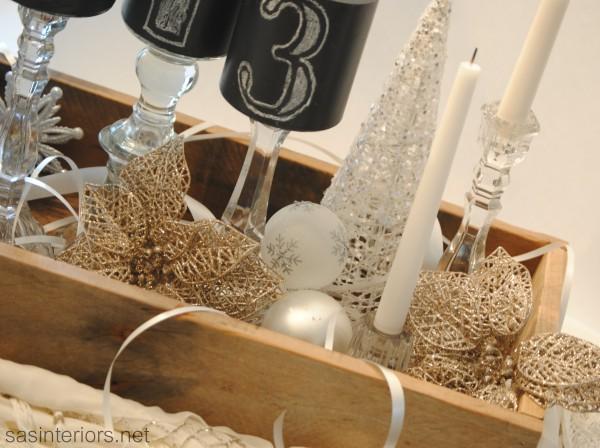 New Years Sparkly Tablescape Centerpiece by @Jenna_Burger, sasinteriors.net #LowesCreator #LowesCreativeIdeas #NewYears #Decorating #Tablescape