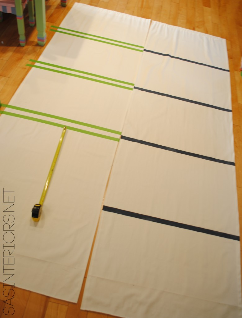 DIY: Tutorial on how to hem a window curtain panel and how-to add stripes using wall paint; Designer look for less by @Jenna_Burger, sasinteriors.net