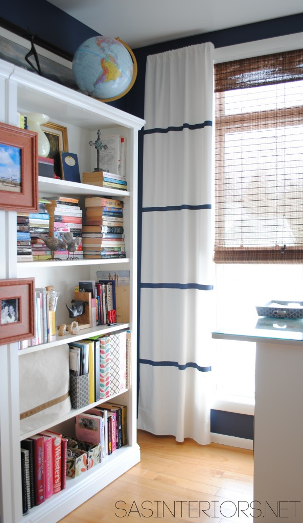DIY: Tutorial on how to hem a window curtain panel and how-to add stripes using wall paint; Designer look for less by @Jenna_Burger, www.JENNABURGER.COM