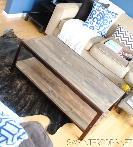 DIY: Modern to Industrial-Style Coffee Table.  Easy upgrade by removing glass and adding stained wood planks.  By @Jenna_Burger, sasinteriors.net