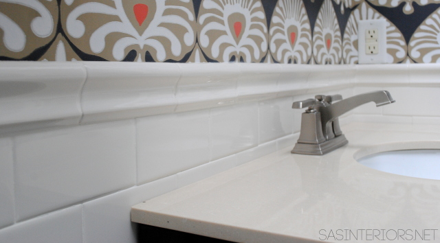 BathroomAdding a Tile Trim Border in a bathroom to give a finished edge!