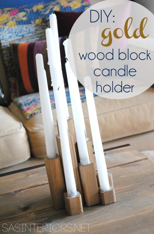 Gold Wood Black Candle Holder {DIY tutorial}