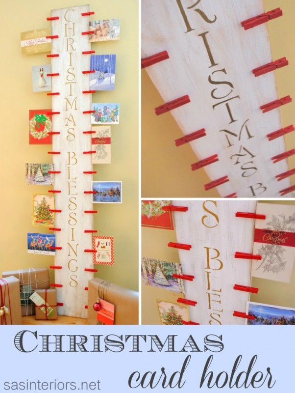 Christmas Card Holder: DIY project using 2 x 10 and clothespin
