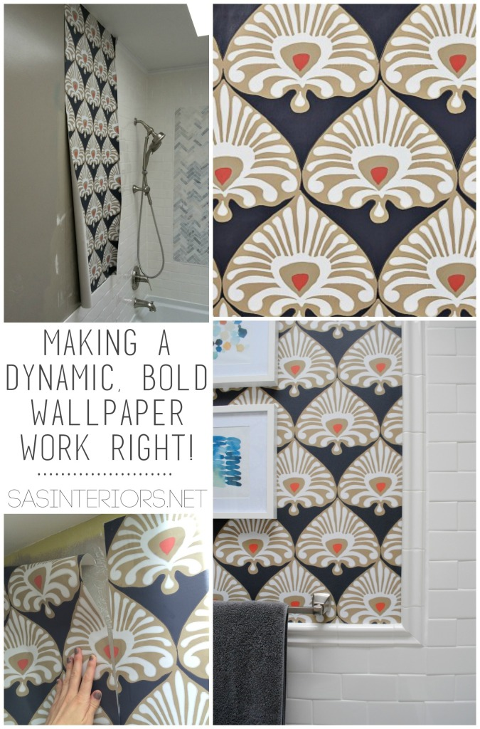 Bathroom Remodel: DIY bathroom makeover in 30 days. This phase of the project is installing wallpaper. Check out the details + the before & after NOW