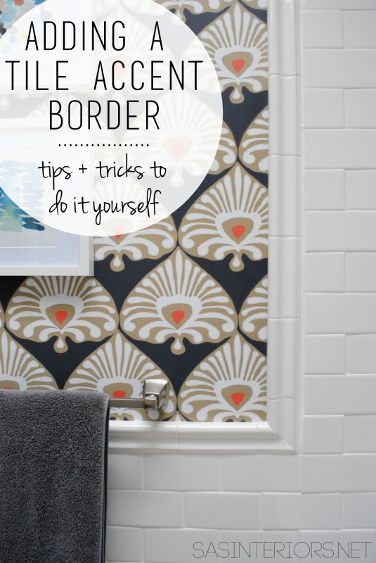Adding a Tile Trim Border in a bathroom to give a finished edge!