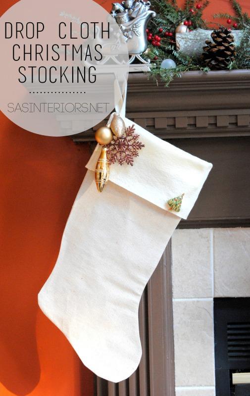 Christmas Stocking using drop cloth {DIY tutorial}