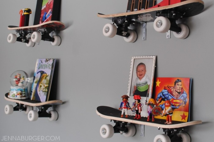 DIY: Skateboard Shelves - perfect for a boys room, young or old! Super easy to hang & totally rad