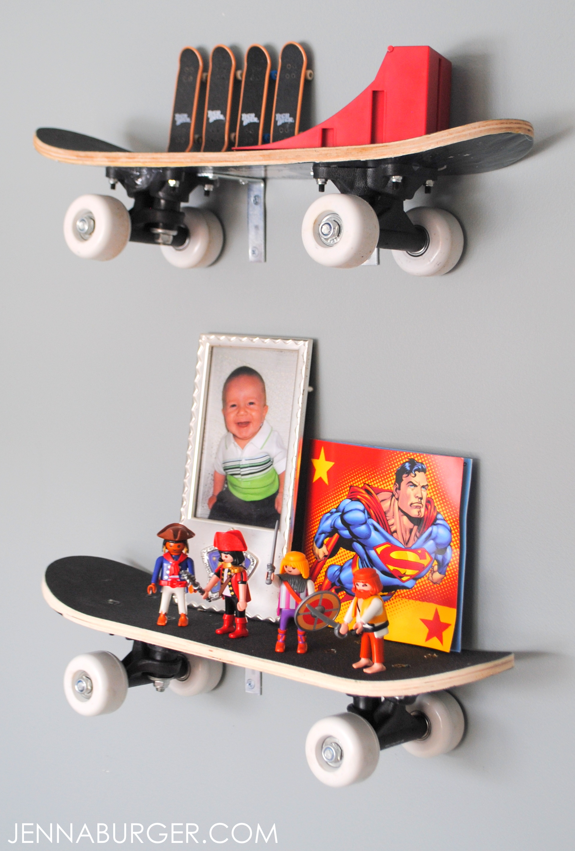Skateboard shelves jenna burger diy skateboard shelves perfect for a boys room young or old super solutioingenieria Gallery