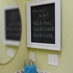 Medicine Cabinet turned framed chalkboard