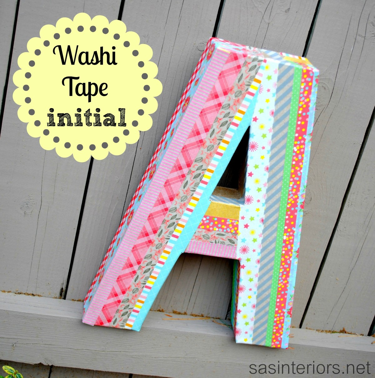 25 Diy Decorating Projects That You Are Inspired To Do: Colorful Washi Tape Initial