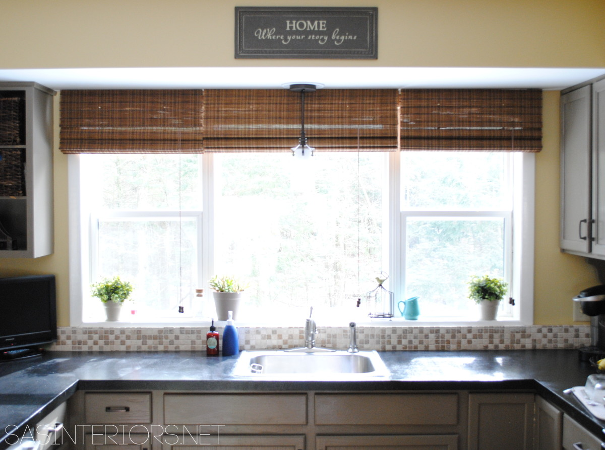 A simple kitchen window upgrade jenna burger for Kitchen window curtains
