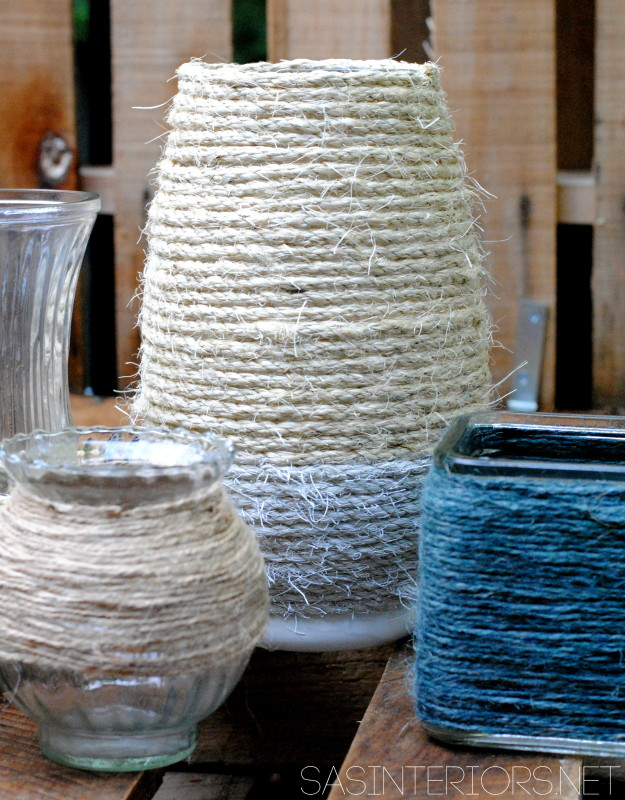 DIY: Rope Wrapped Vases perfect for creating & displaying in an apartment and/or small space #apartment #diy #apartmentliving