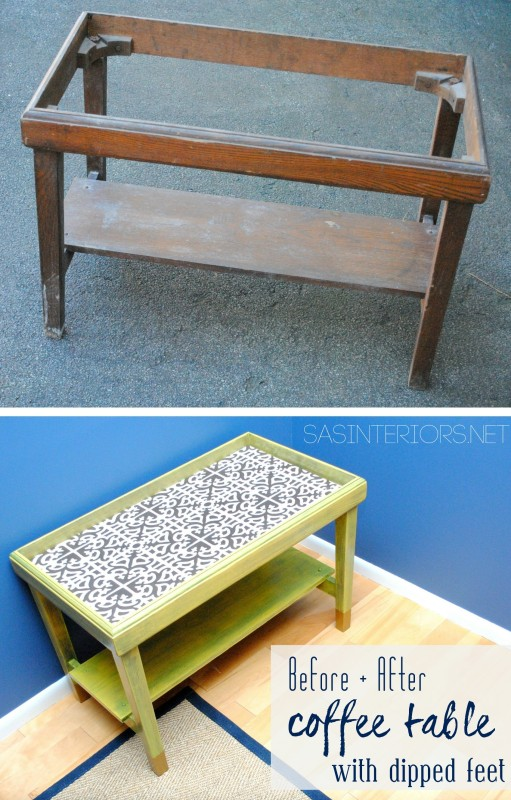 Before after coffee table revamp with sunshine yellow for Revamp coffee table