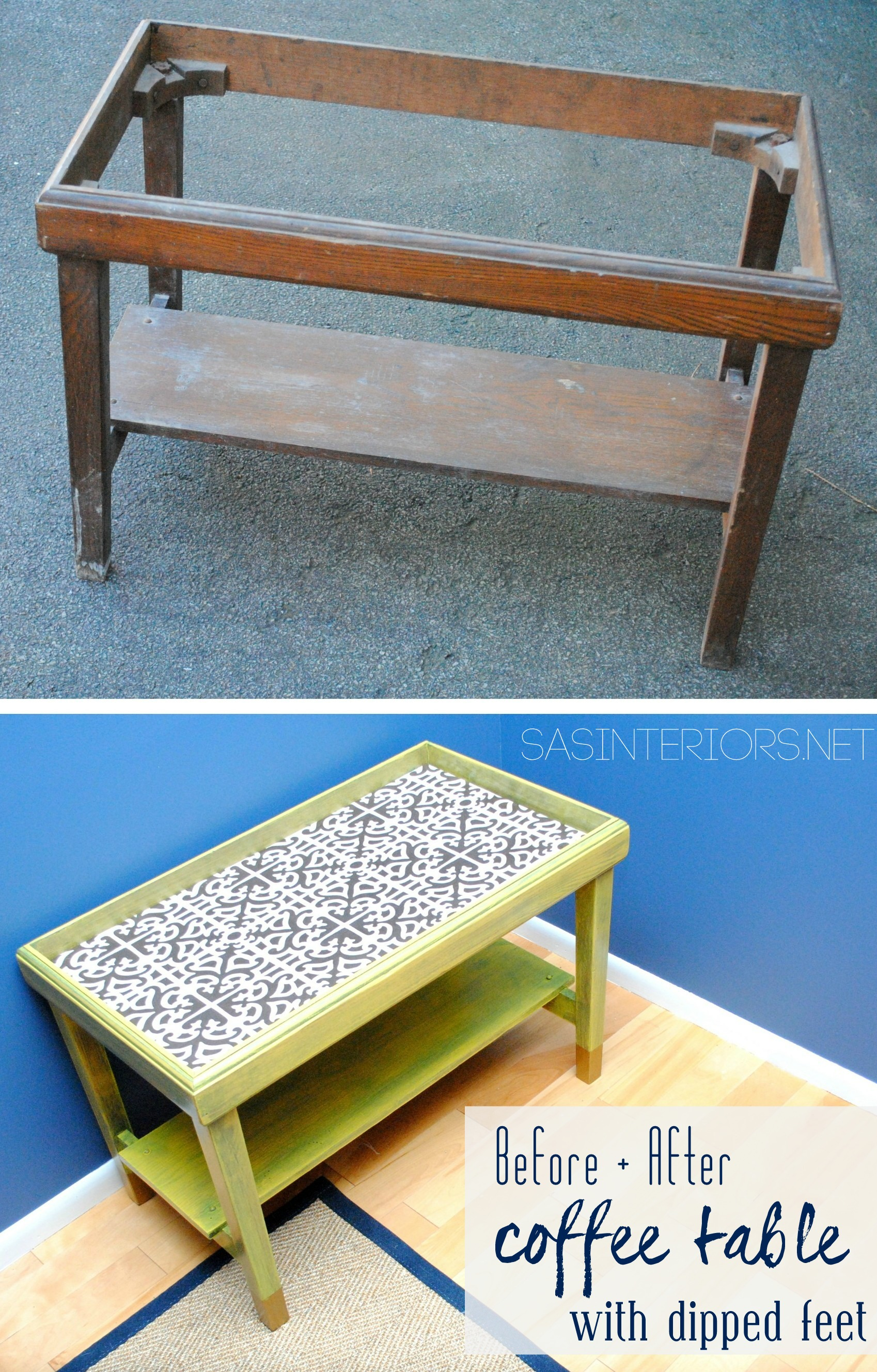 Before & After Coffee Table Revamp with Sunshine yellow Stain by