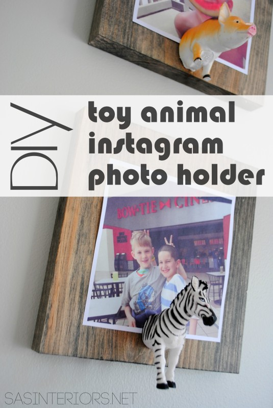 DIY: Toy Animal Instagram Photo Holder. So cute & easy to make. Perfect for a kids room or any eclectic space! Full tutorial at www.jennaburger.com