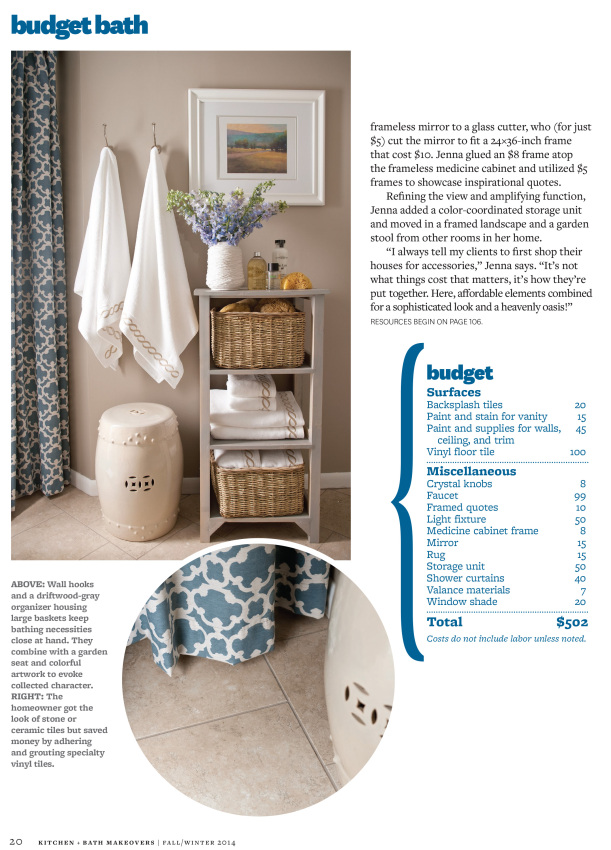 Bathroom Makeover featured in KBMO Fall/Winter 2014, produced by Donna Talley & photographed by John Bessler