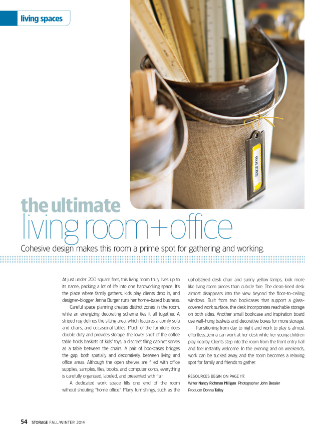 Living Room / Office featured in Storage Magazine Fall/Winter 2014 issue, Designed by Jenna Burger - Produced by Donna Talley - Photographed by John Bessler