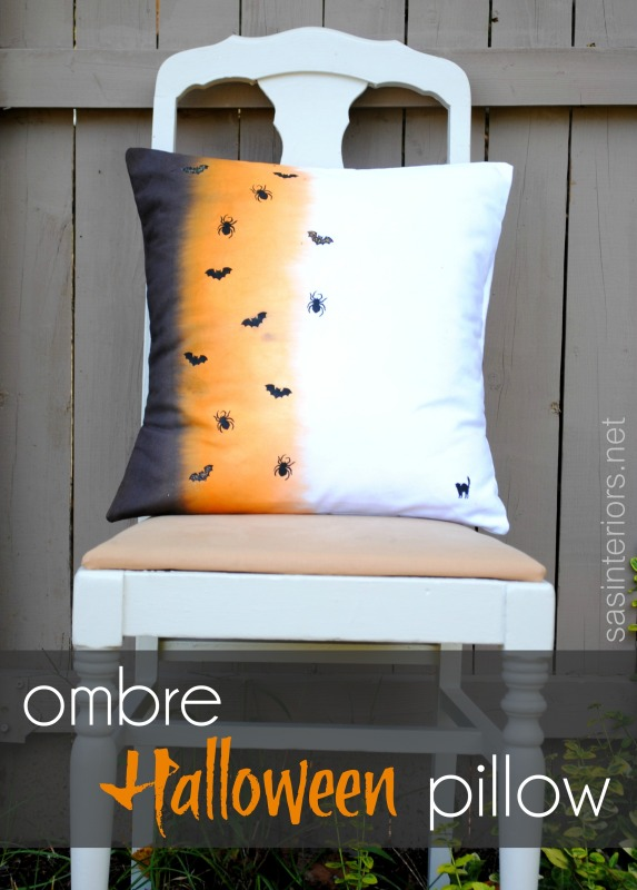 DIY Ombre Halloween Pillow using RIT dye + festive stencils
