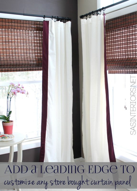 9 Ideas for DIY window treaments. Add a leading edge detail to custom any store bought curtain panel