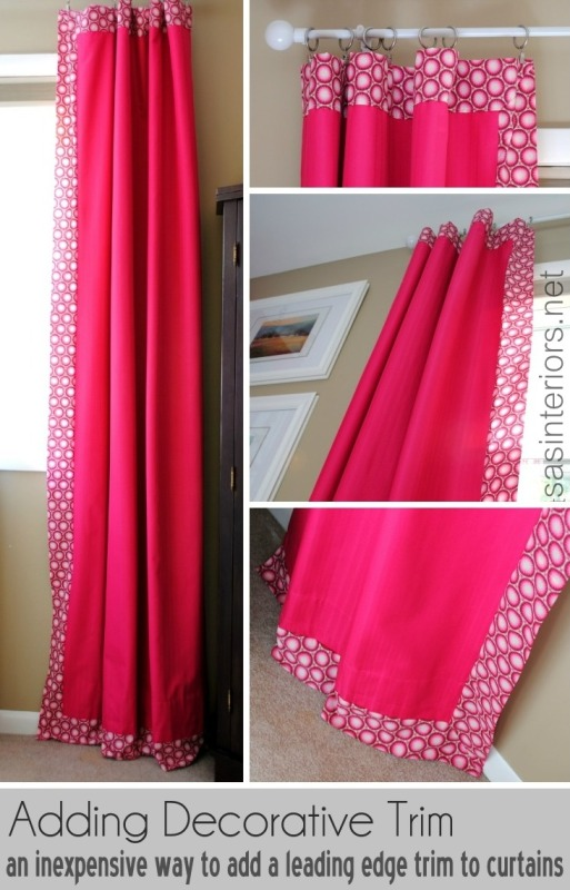 9 Ideas for DIY window treaments. Adding a leading edge fabric to store-bought panels (super easy to create a designer look)!