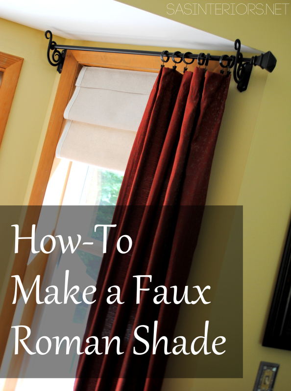 9 Ideas for DIY window treaments. Faux Roman Shade using drop cloth material