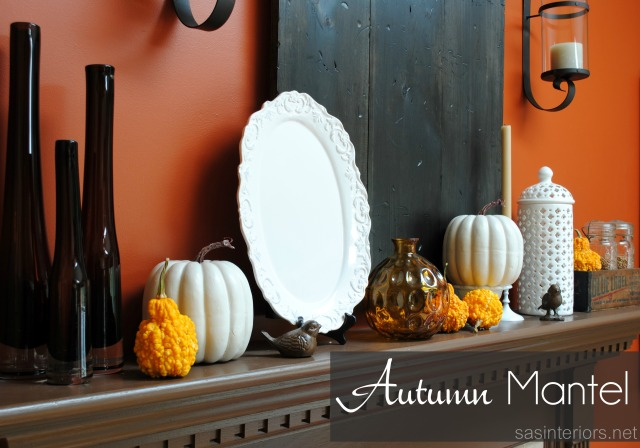 Autumn Mantel decorated with pumpkins & seasonal decor